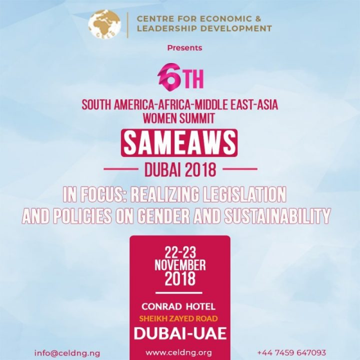The 6th South America-Africa-Middle East-Asia Women Summit (SAMEAWS) 2018